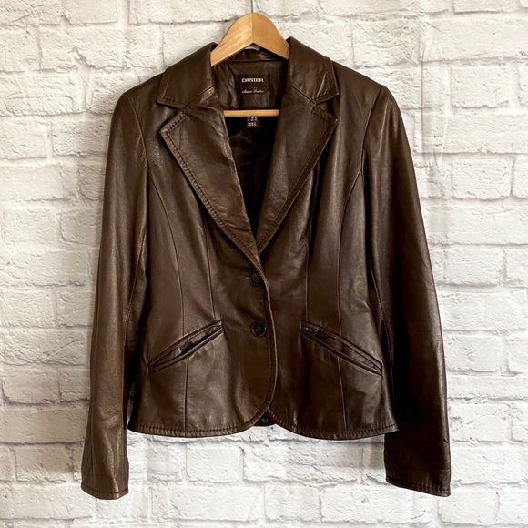 DANIER Dark Brown Italian Leather Blazer Jacket